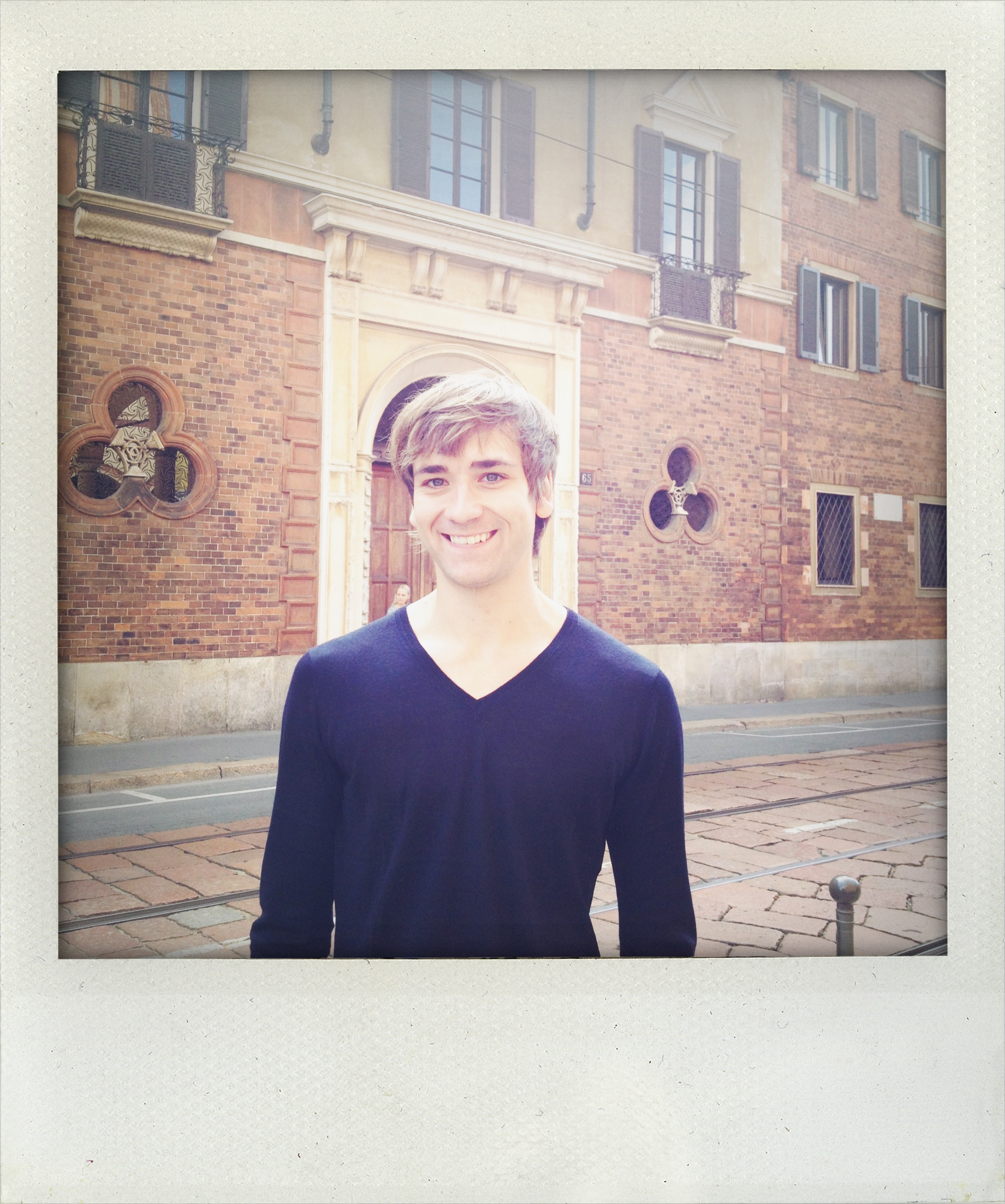 In front of Da Vinci's house in Milan