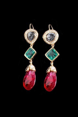 Gold Earrings with Pink Spinels, Diamonds and Emeralds