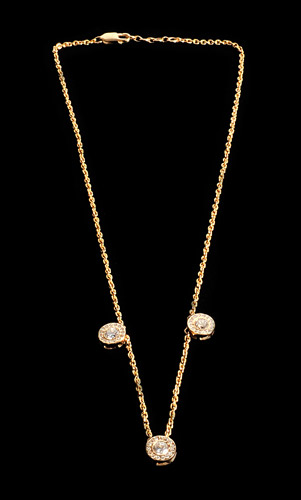 18ct gold, 3 diamond necklace