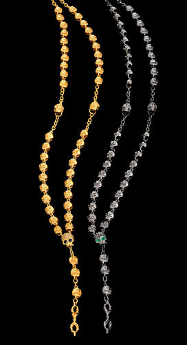 Silver-with-28ct-Gold-Vermeil-Rosary-with-White-Diamonds-and-Sapphire-Eye-and-Silver-with-Black-Rhodium-Finish-Rosary-with-Black-Diamonds-and-Emerald-Eyes.jpg