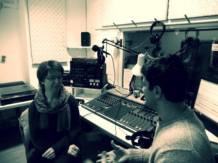 Im Aufnahmestudio mit Cornelia Brink. Freiburg 2013.