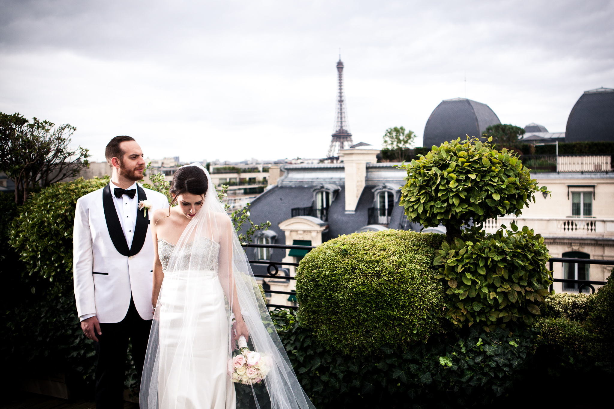 Jason and Mary on the rooftop of Hotel Raphael in Paris.