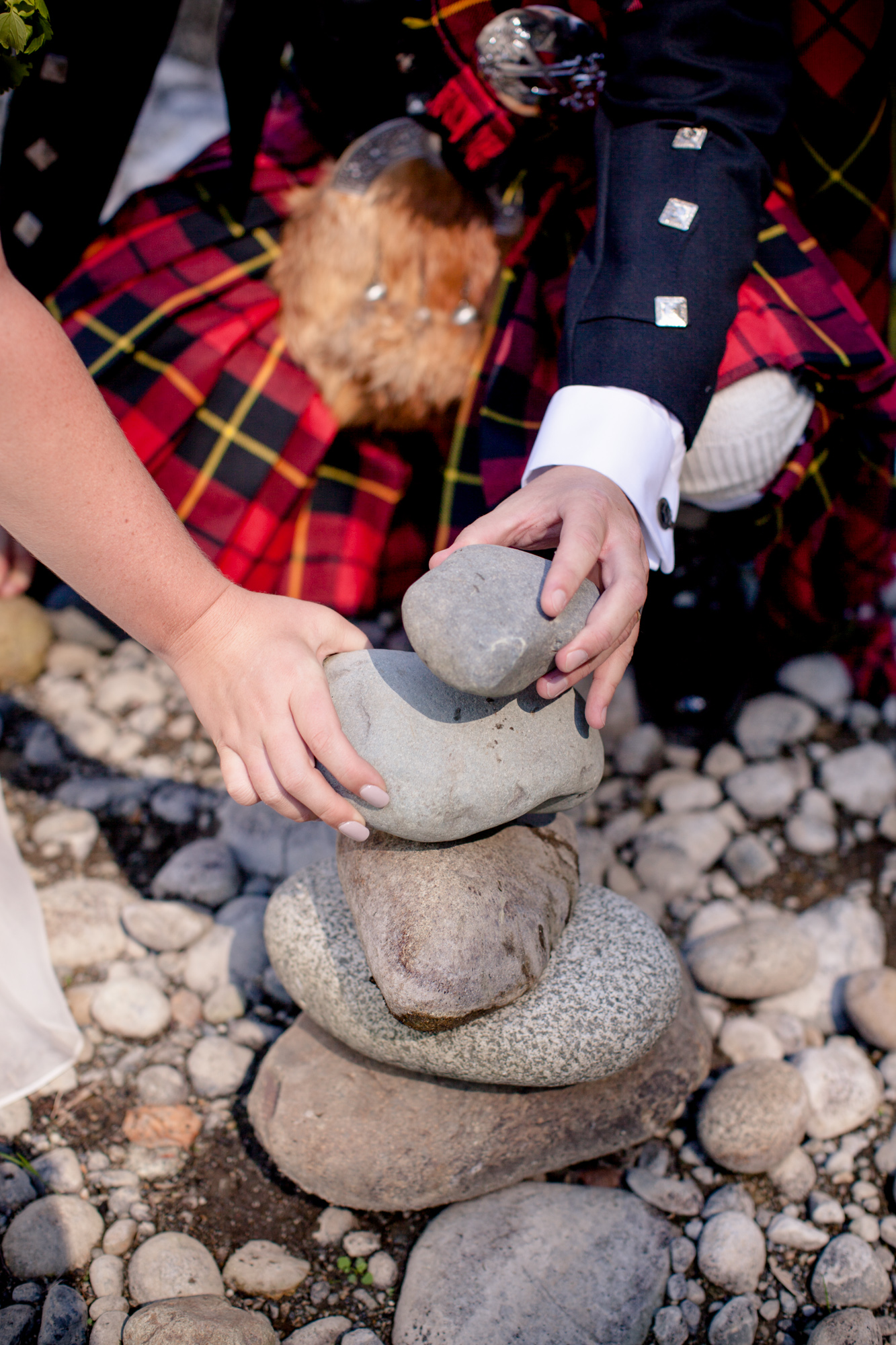 After the ceremony, Justin and Christa made a cairn, as is traditional at Treehouse Point for river ceremonies. There were dozens!