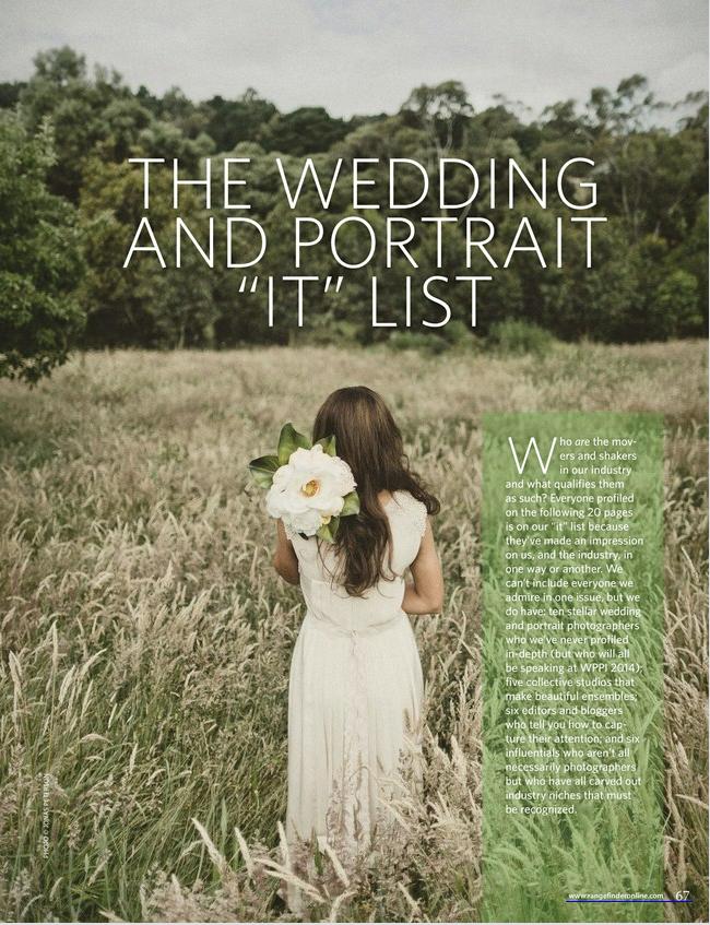 """Rangefinder Magazine - The Wedding and Portrait """"IT"""" List"""