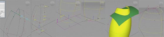 Strategy of draft surfaces used as construction alignment geometry for smooth surfaces across symmetry plane.
