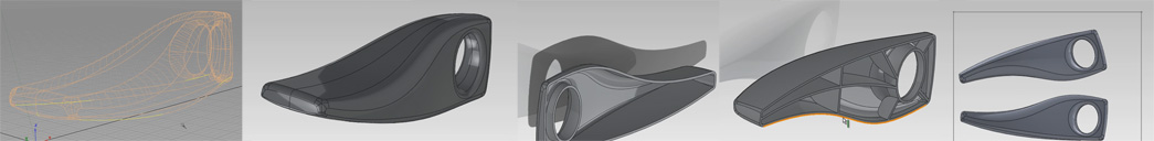 Exporting NURBS surface data as an IGES then using various features in Solidworks to prepare a DelCAM PowerMill session.