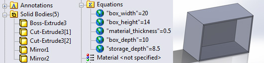 Parametrically modeled box with 5 solid bodies driven by global variables.