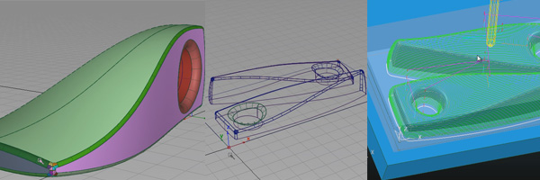 Dustbuster modeled in Alias with X-axis symmetry, cnc layout for Powermill CNC toolpath programming session.