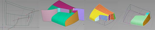 Using surfaces to split between material breaks.