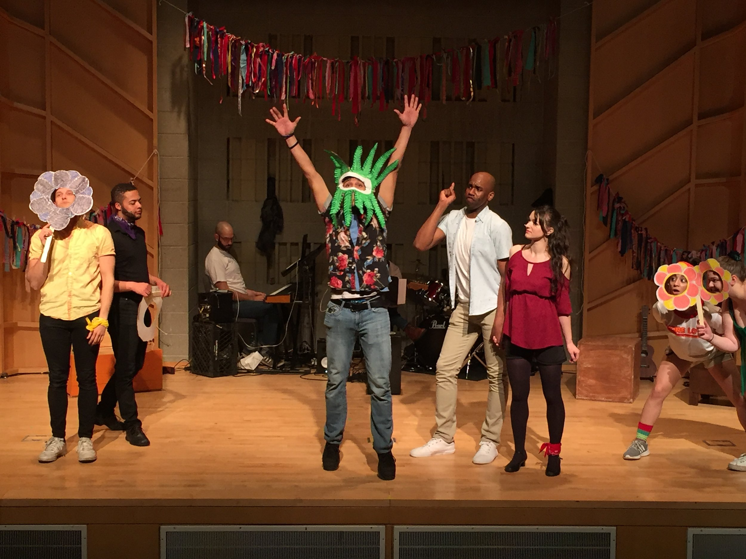 The company of GODSPELL (left to right) Jordan Boyd, Dante Hill, Joshua Oxyer, James Edward Temple, Katie Brandenburg, Kelly Grago, Ariel Silverstein