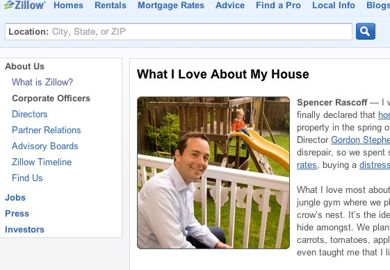 "This is an example of a real estate portal website - Zillow in the US, not a real estate company website, but the section ""What I love about my house"" is great"