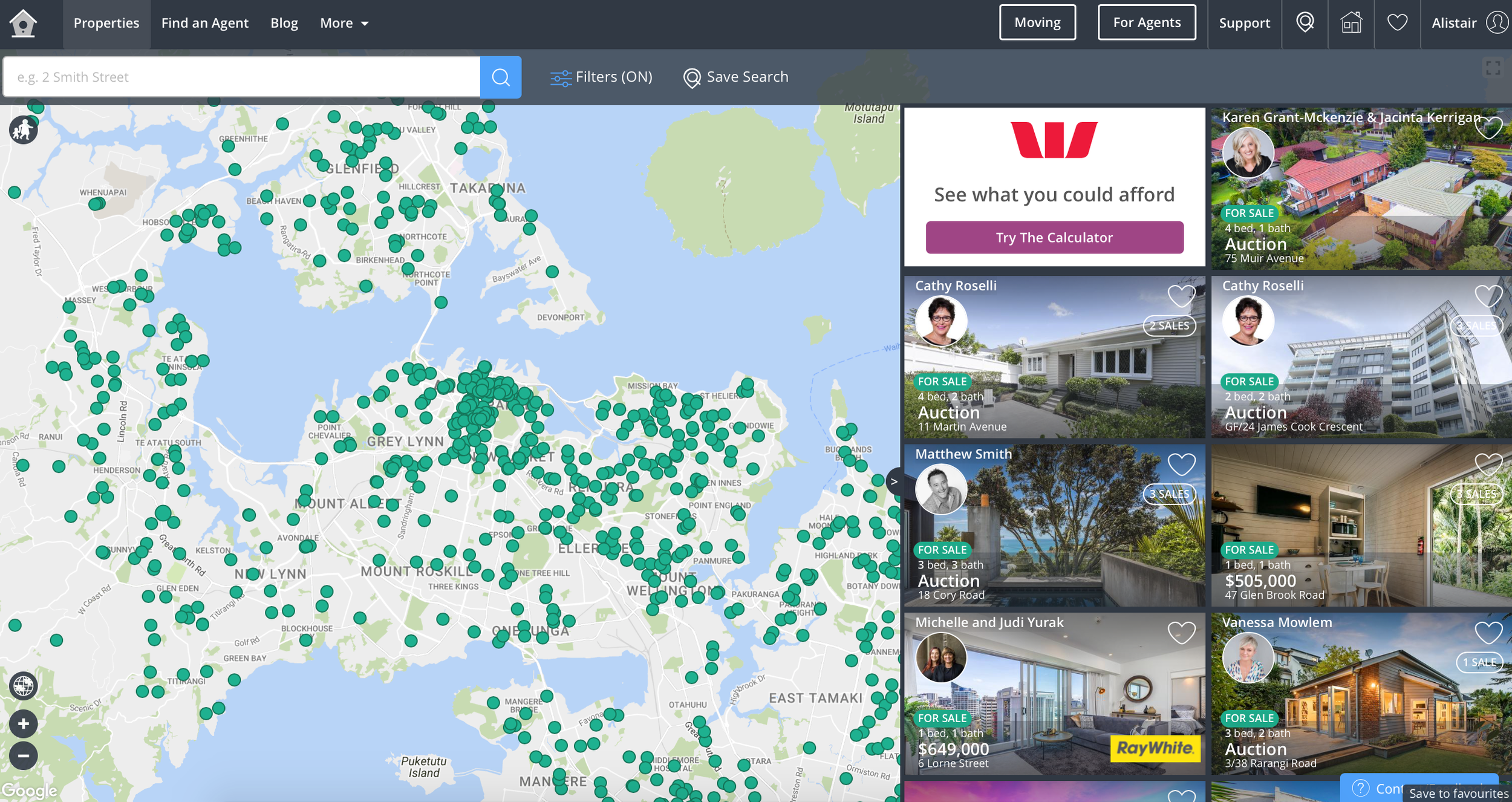 Demonstration of Homes listing in Auckland - almost all Ray White