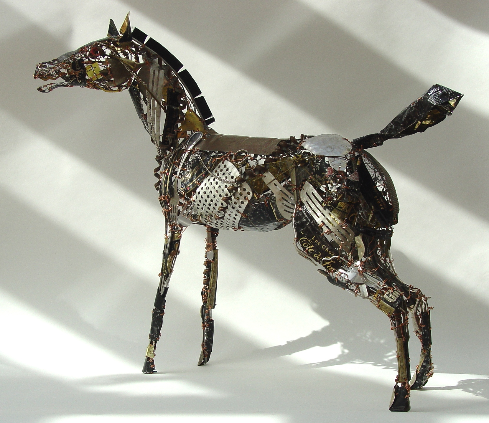'Horse of Sparta' is 63cm high x 74cm long x 20cm high it is off to the Jack Tierney Gallery in Aberdeen.