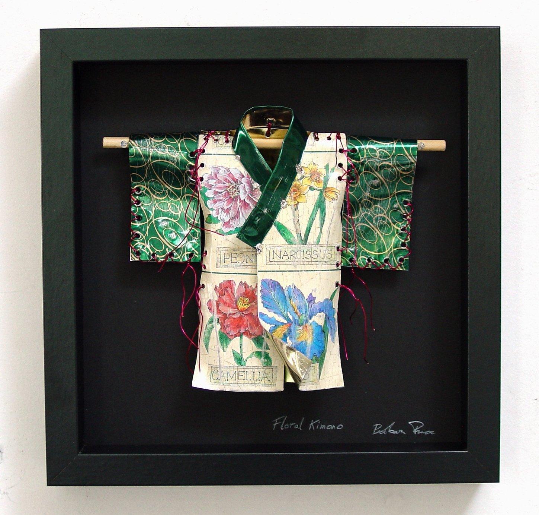 Floral Kimono   frame size 26cmW x 26cmH x 4cmD