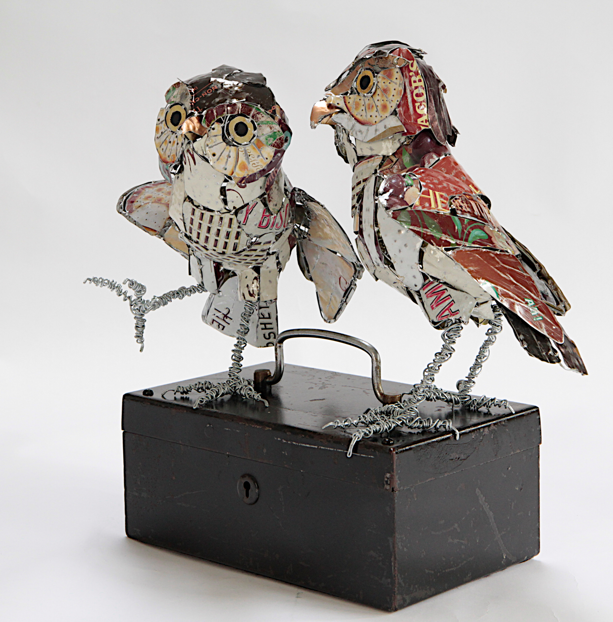 A Parliament of Owls      made from wire, tin and an old cash box, they give sage advice