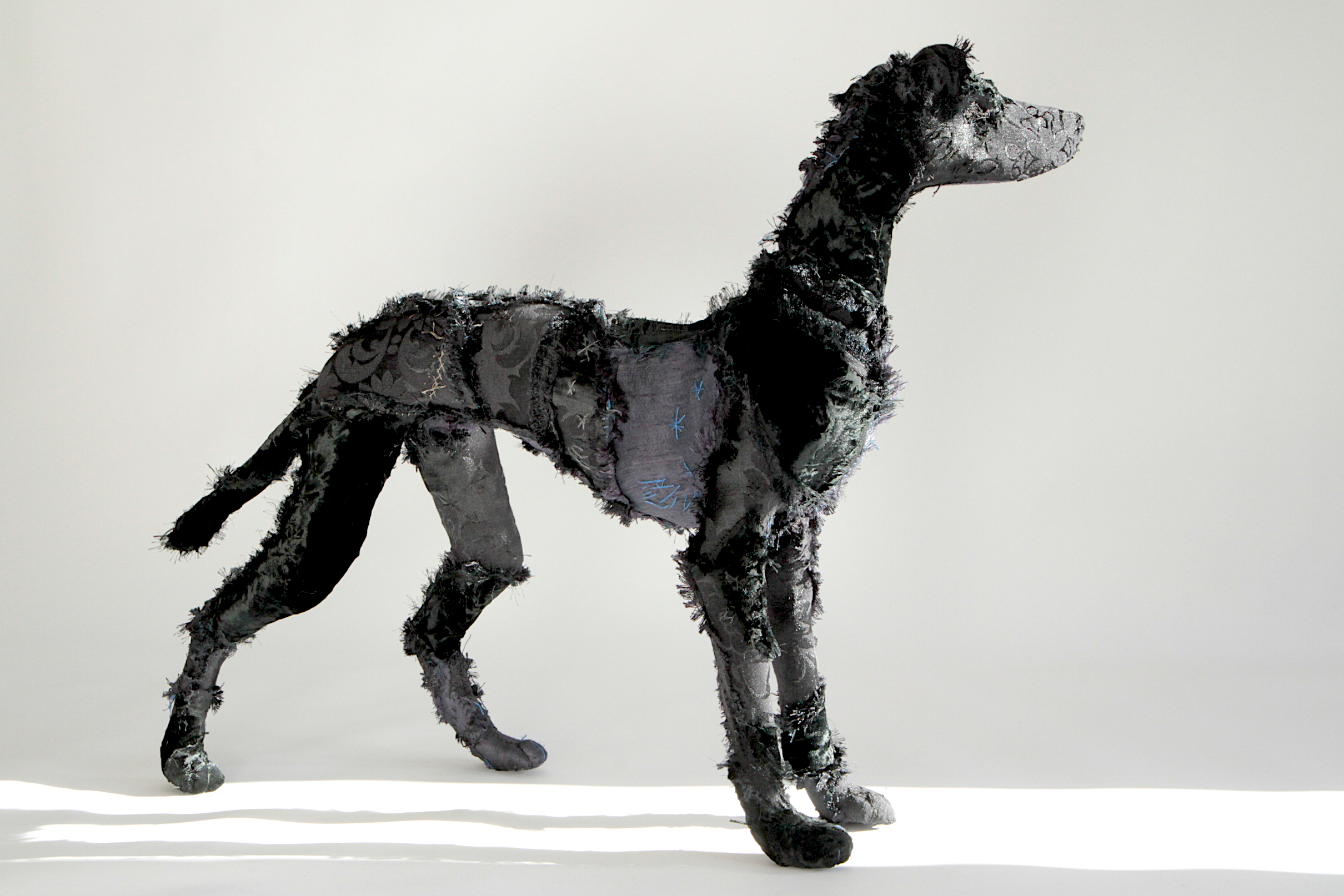 'Elegant Hound'   a beautiful creature made from wire, and textiles