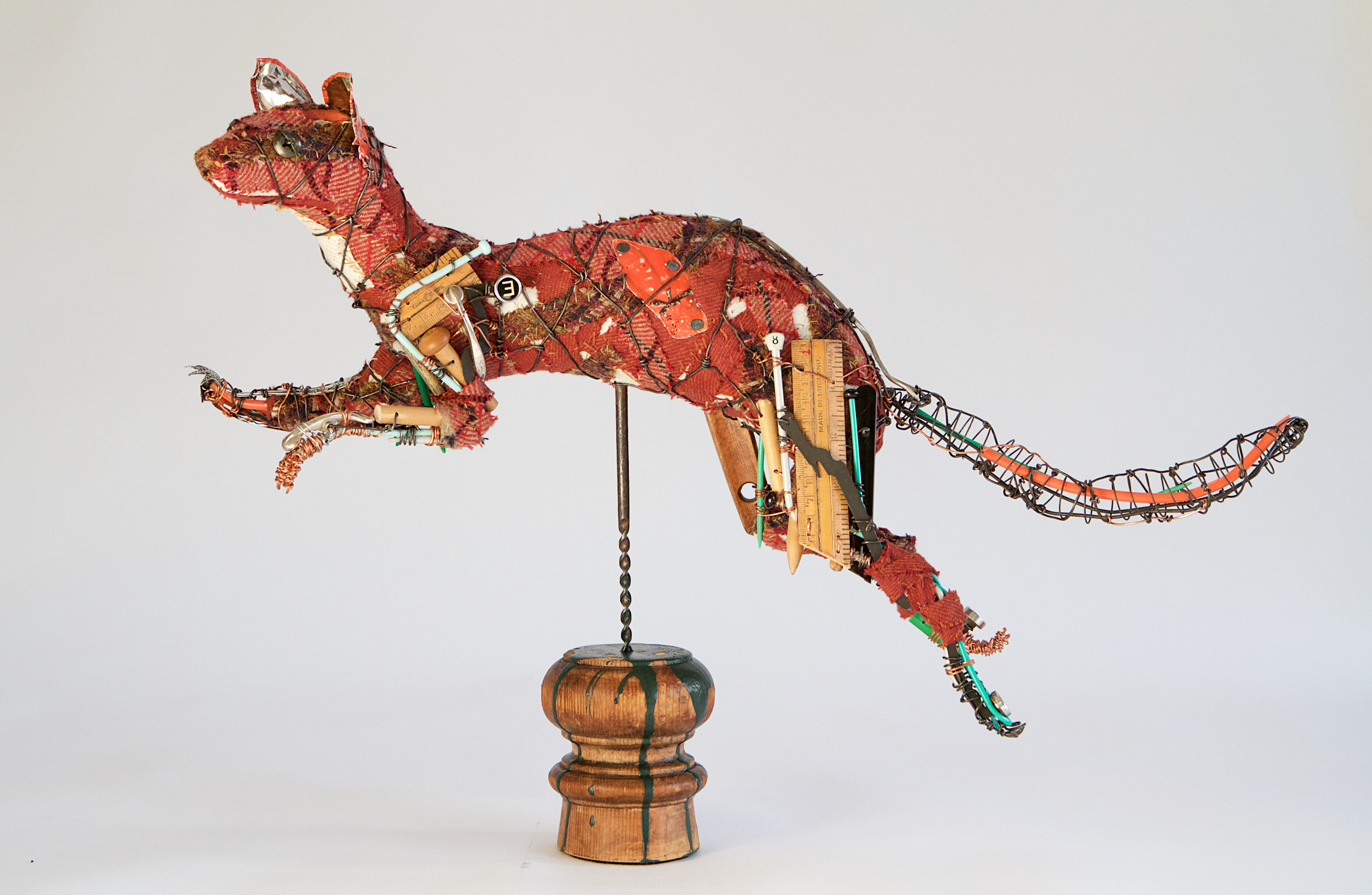 'Leaping Pine Marten' a life-size wire and expanded foam form covered in Scottish tweeds and 'found' objects