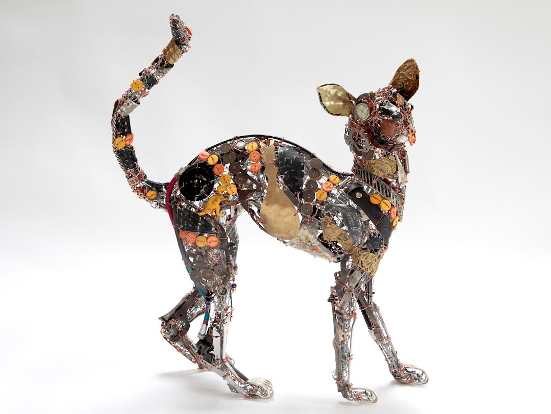 'One in a Million' made from a huge selection of found objects including plastic dinosaurs and typewriter keys.