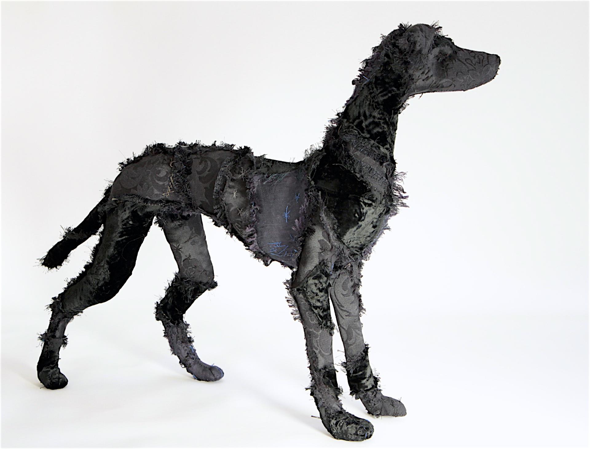 Elegant Black Hound 51cm H x 72cm L x 22cm W