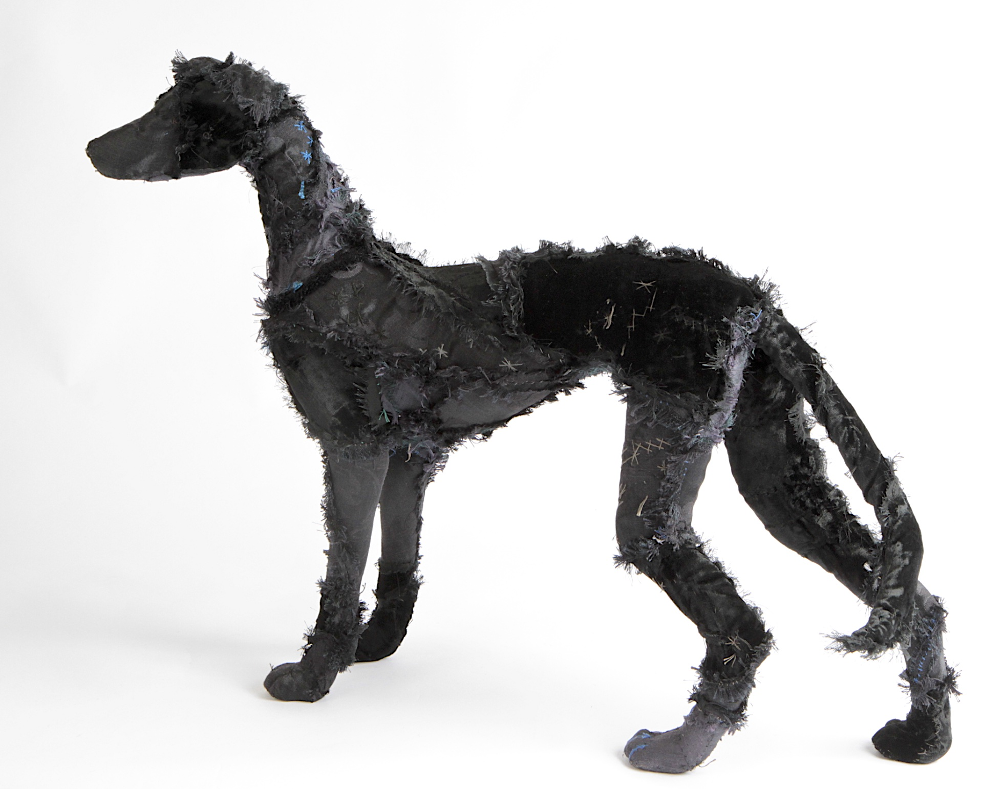 Hound made with a strong wire armature, and vintage textiles with some embroidery