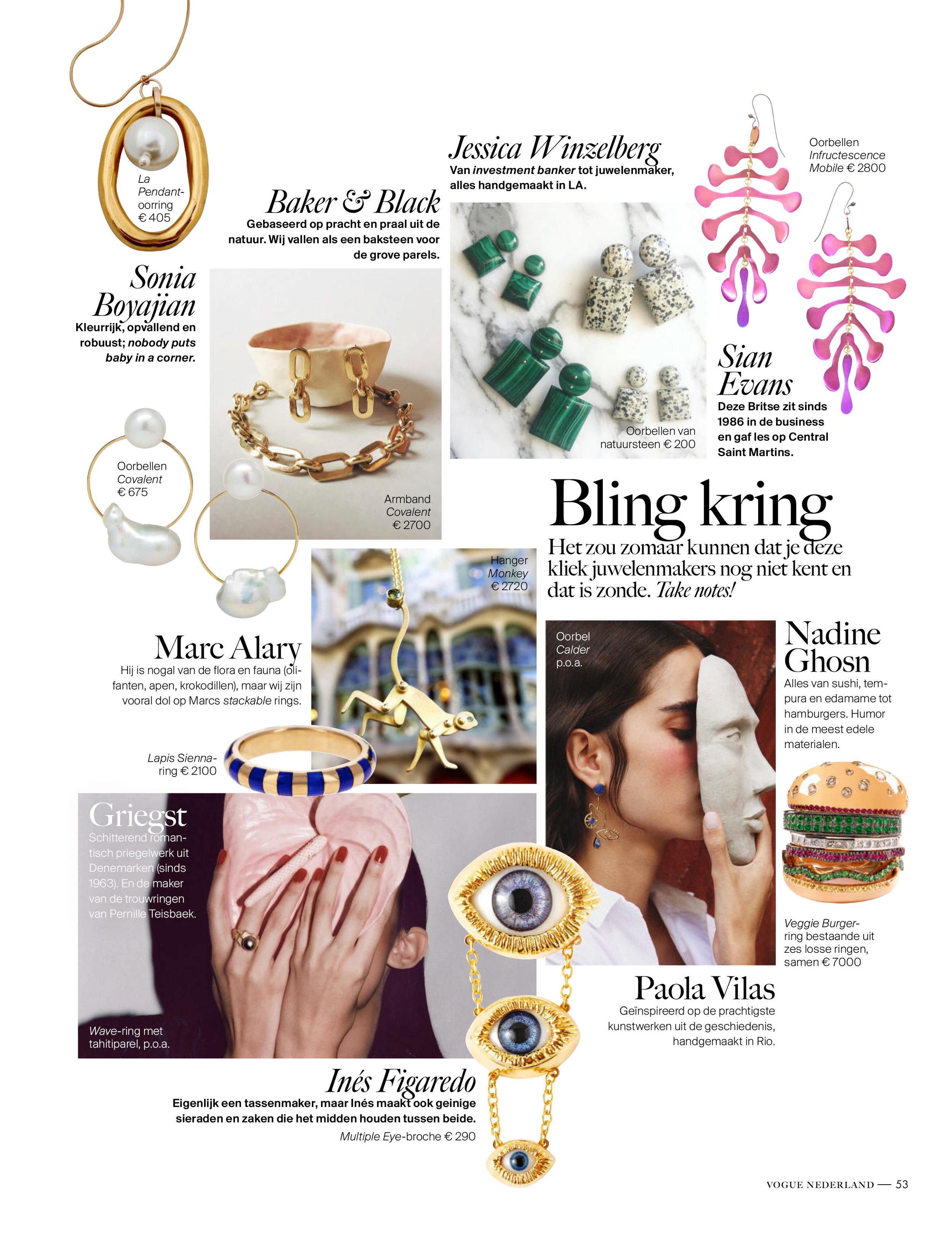 Botany,infructescence earrings; Vogue Netherlands December 2017