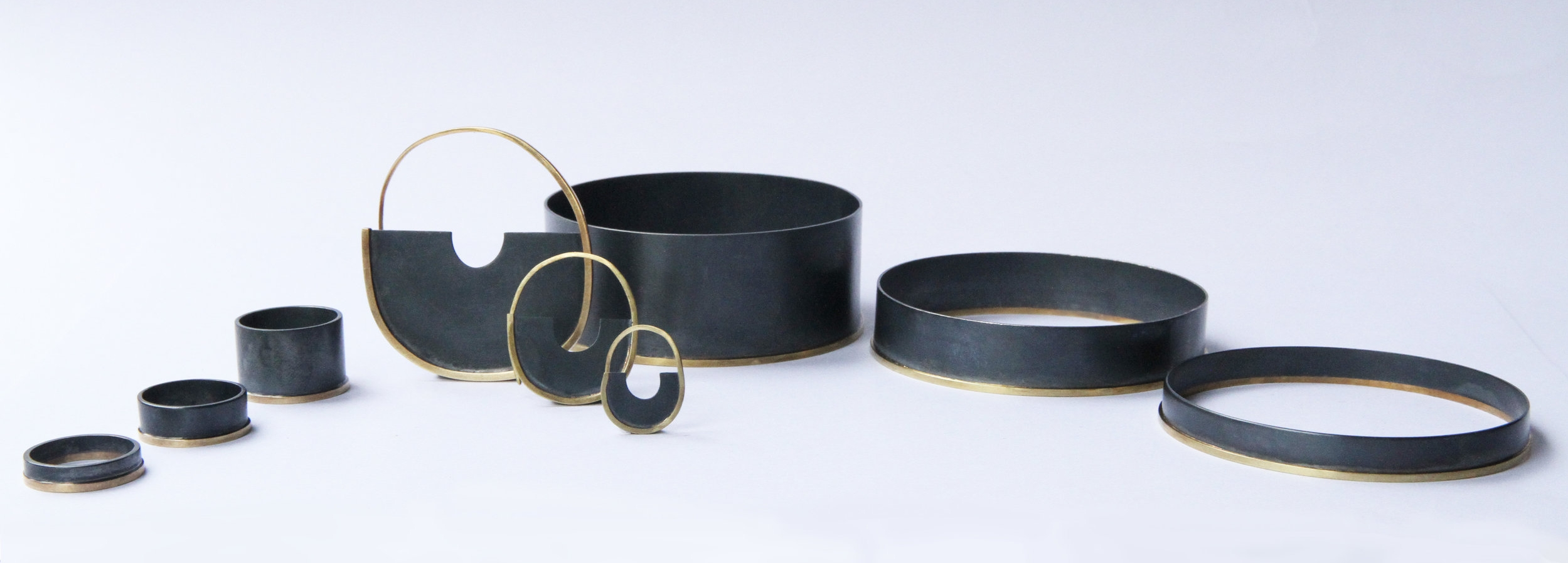Blackened silver with 18ct gold elements from our  'Antumbra'  collection