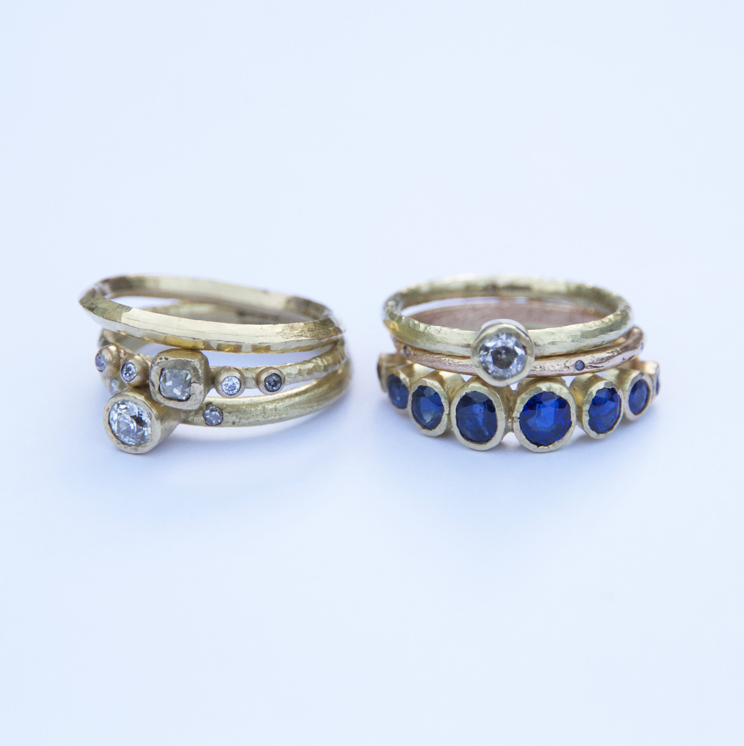 Recycled gold and vintage stone rings.  Bespoke  jewels.