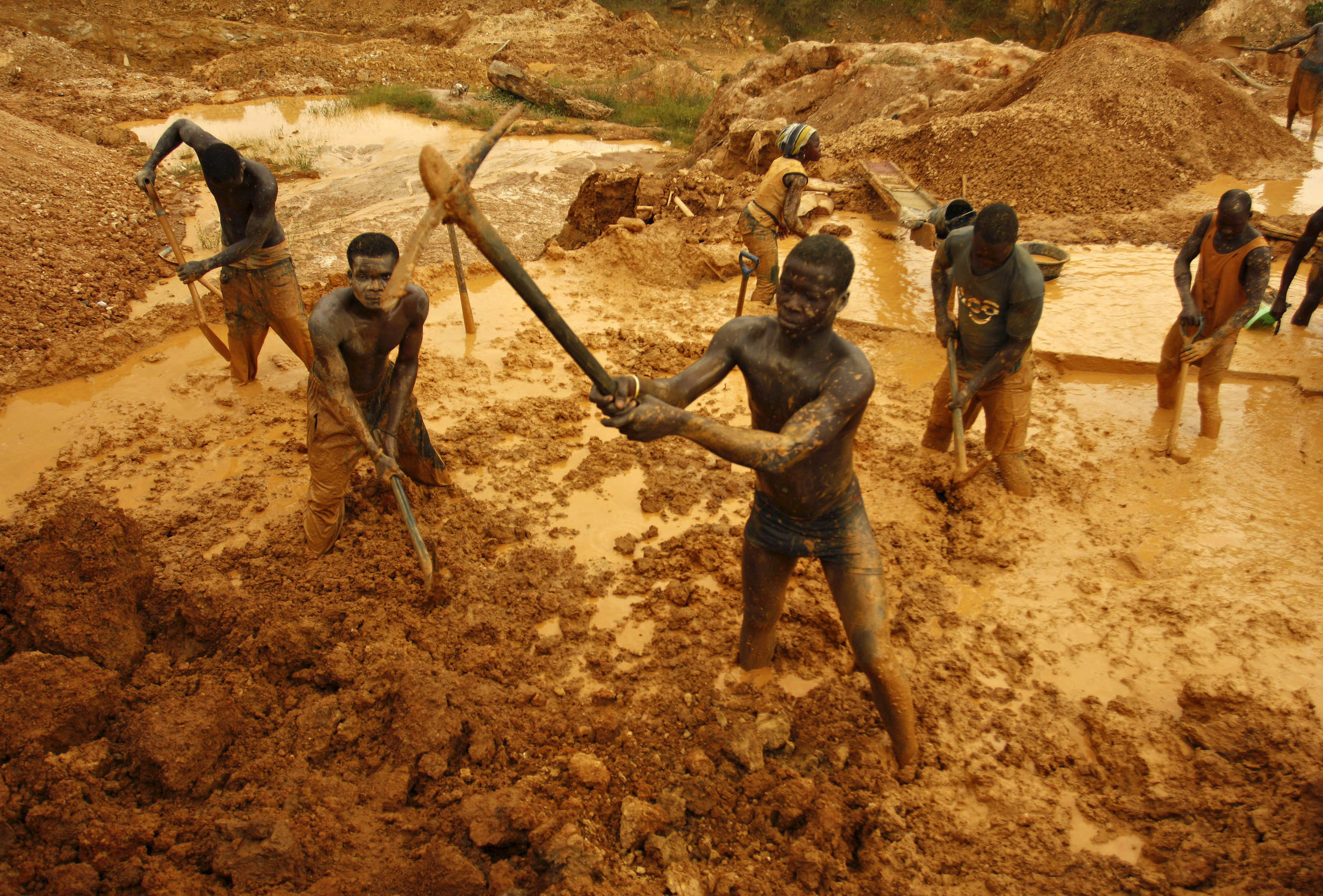 Contemporary West African miners , there is currently a gold rush in The Congo, Ghana and Mali