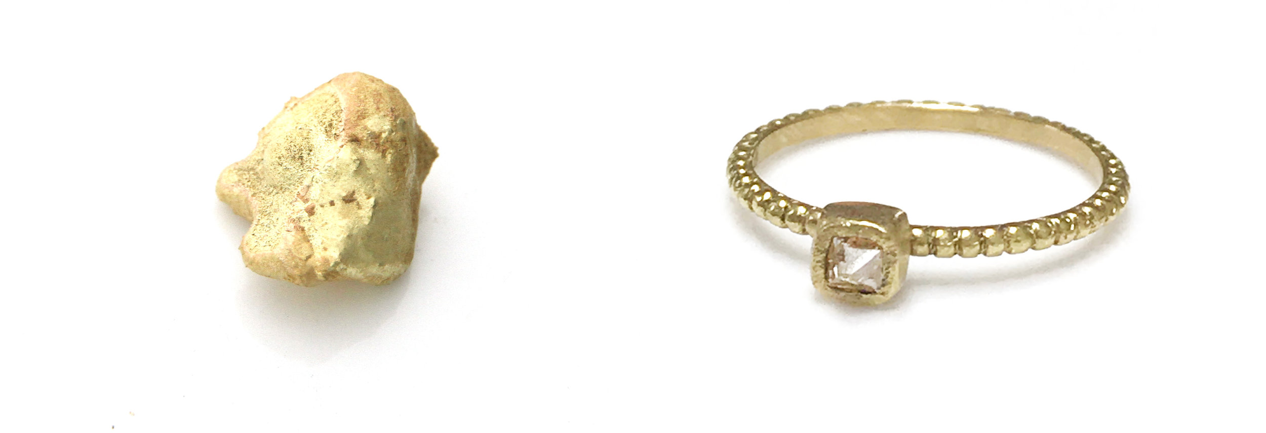 Before. Recycled gold nugget . After . Hand made grained ring with Georgian diamond .