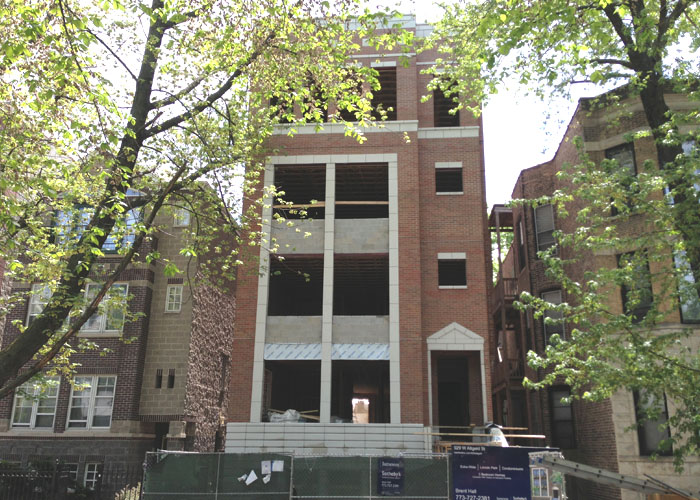 New construction condo building in Chicago.