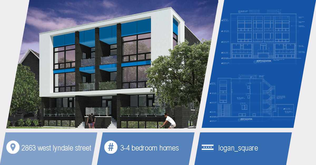 6-unit condo building with white exterior in logan square located at 2863 w lyndale st, chicago.