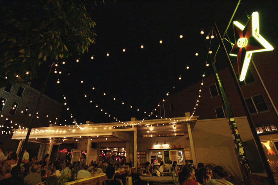 Patio dining at night in Bucktown Chicago