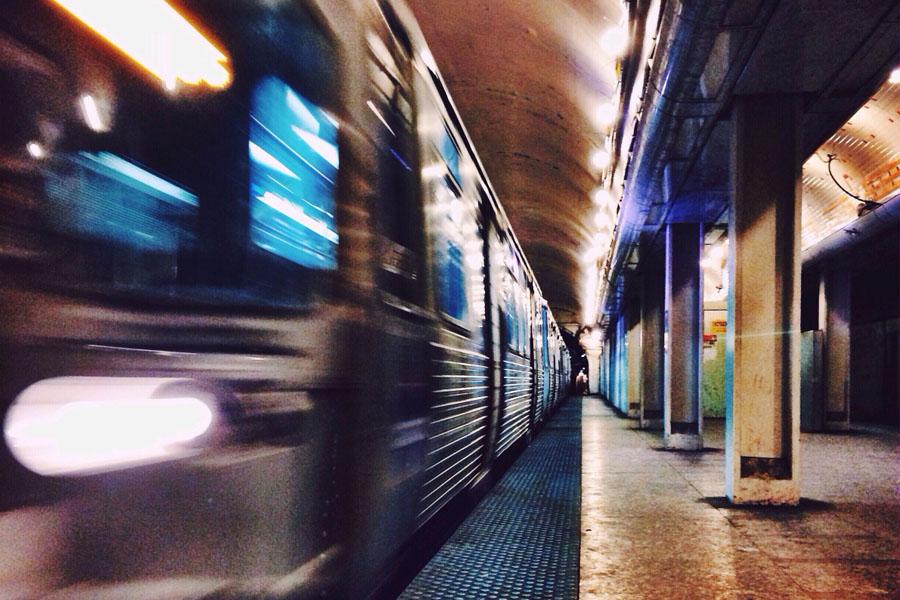 CTA Blue Line in Wicker Park