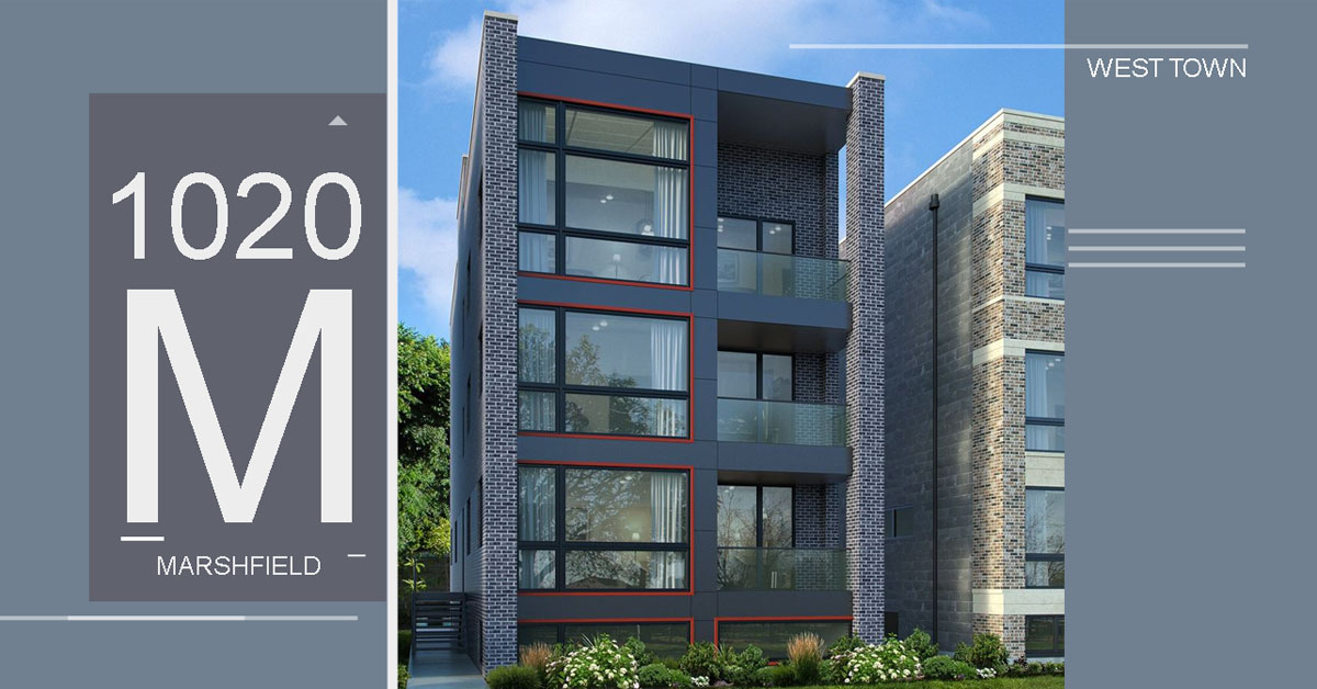 4-unit new construction condo building in west town located at 1020 north marshfield ave, chicago.
