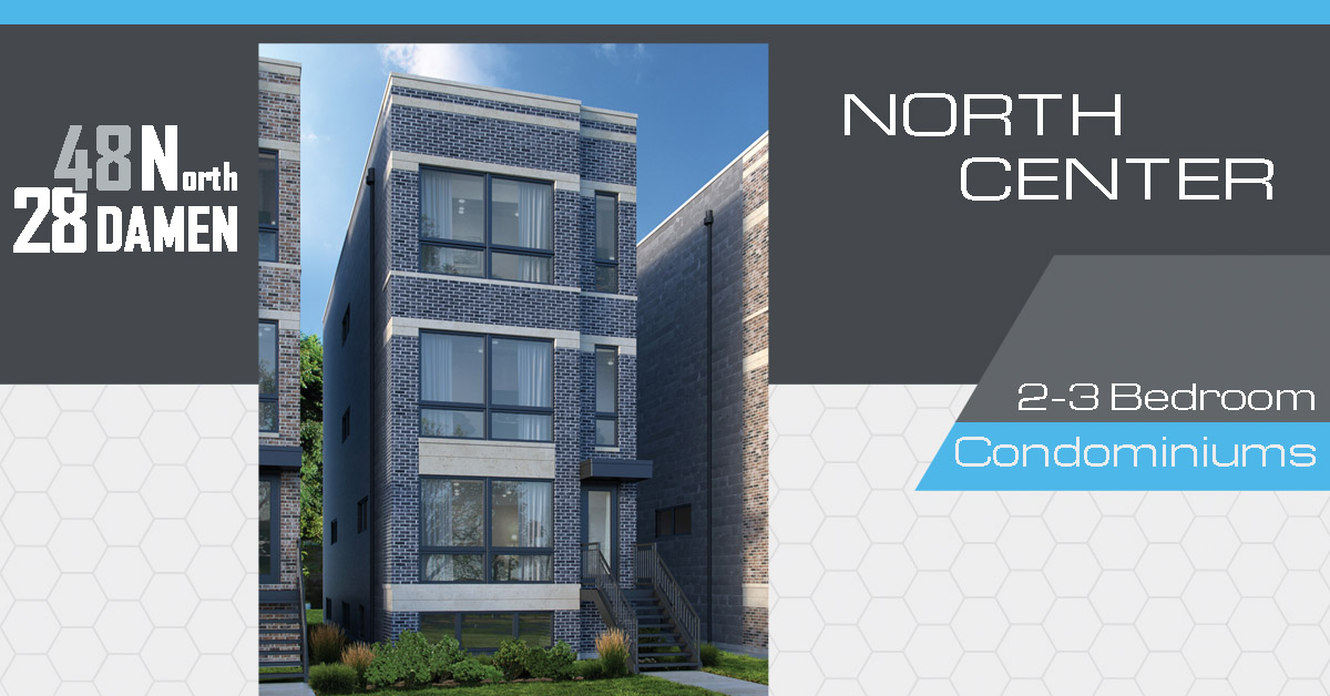 new construction condo building in north center located at 2848 n damen ave, chicago.