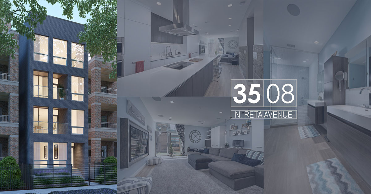 new construction condo building in lakeview located at 3508 north reta ave, chicago.