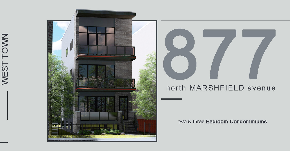 new construction condo building in west town located at 877 north marshfield, ave, chicago