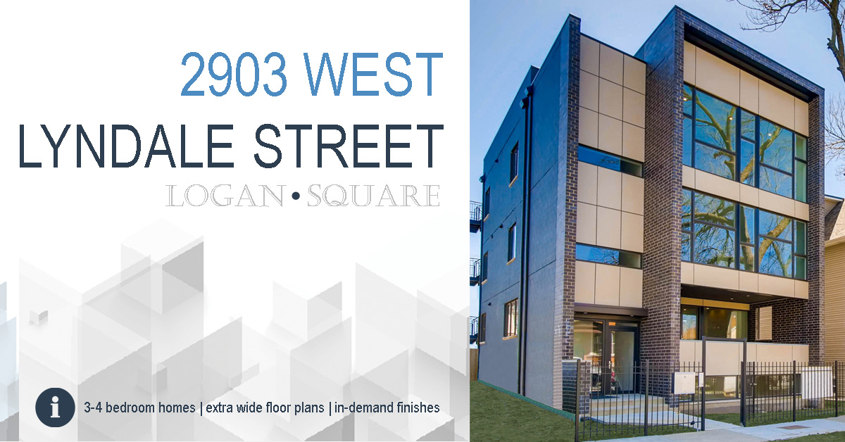 new construction condo building in logan square located at 2903 w lyndale st, chicago.