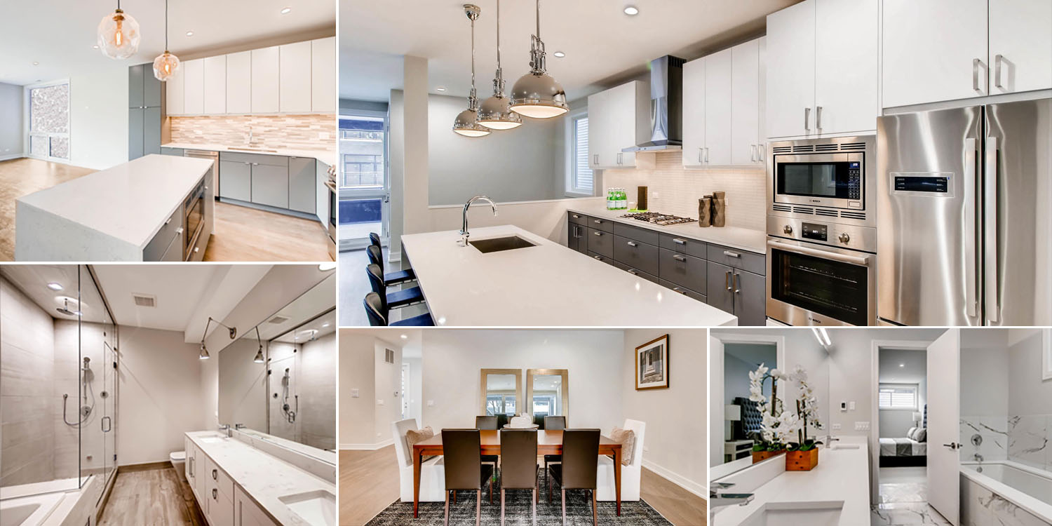 different examples of new construction kitchens and baths at 3032 w lyndale st, chicago.