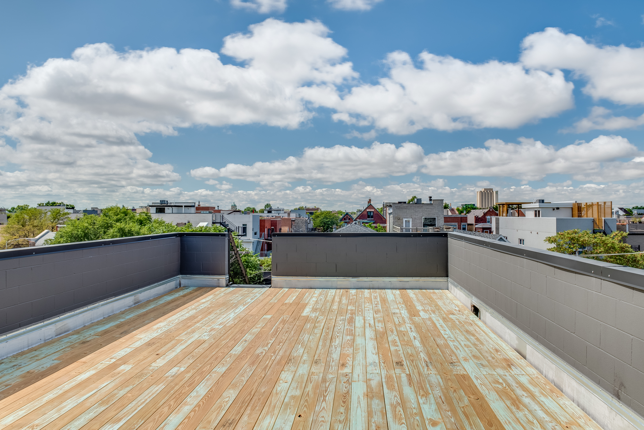 Roof deck facing west at 1012 N Paulina St Unit 3, Chicago, IL