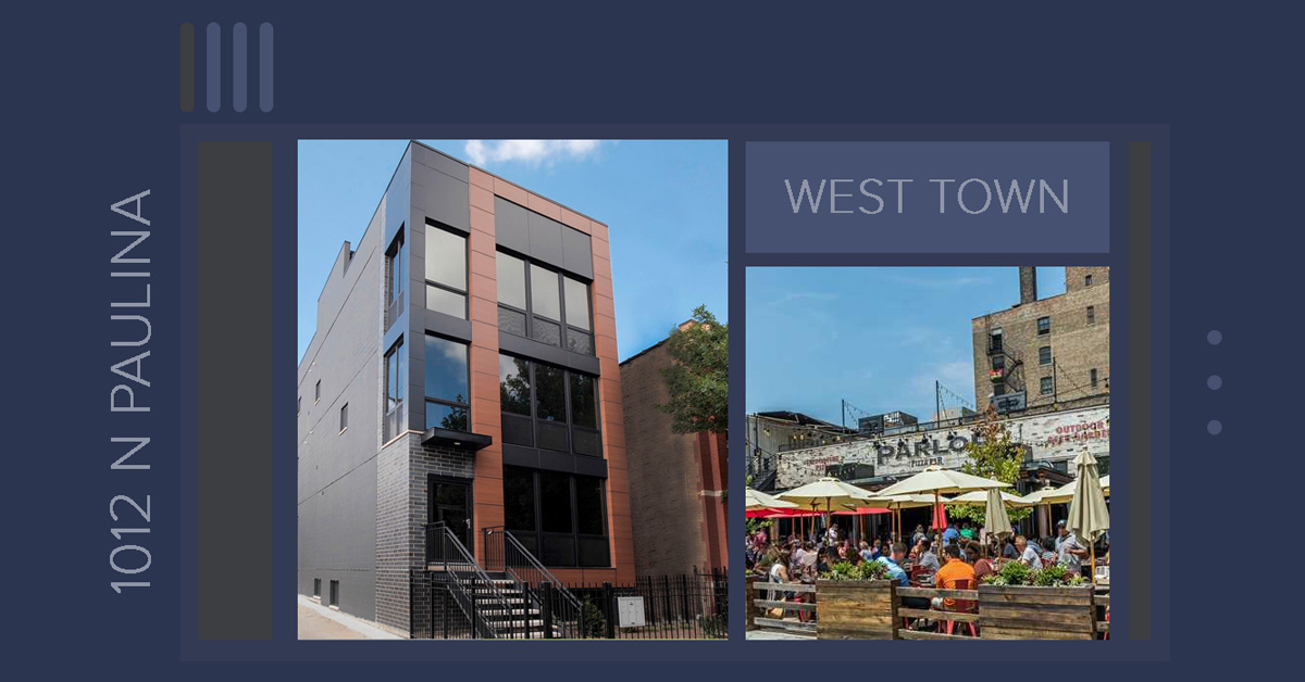 new construction condo building and outdoor dining. 1012 N Paulina, St, Chicago