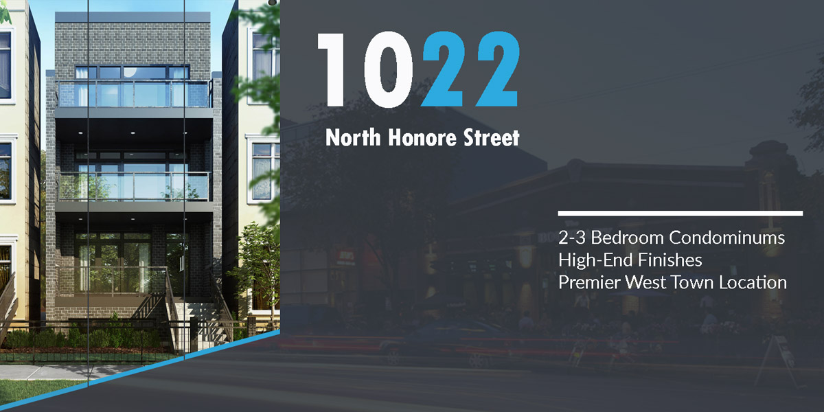 new construction condo building shown in west town. 1022 n honore, St, Chicago