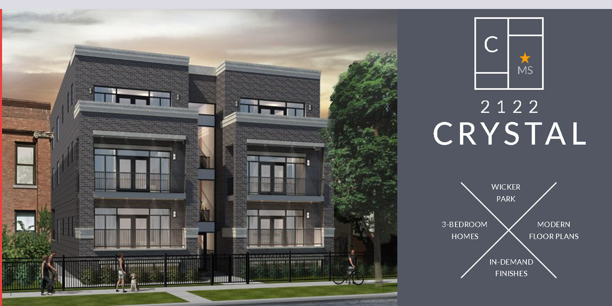 new construction 6-unit condo building shown in wicker park. 2122 w crystal, St, Chicago