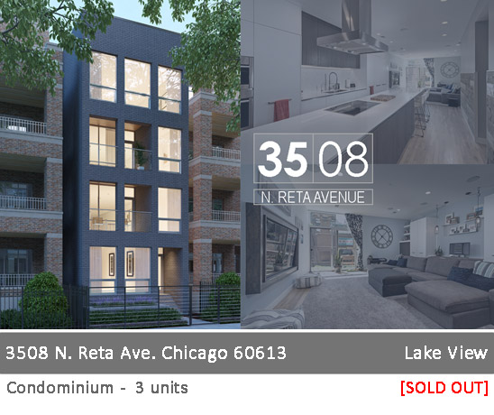 new construction condo building in lakeview. 3508 n reta ave, chicago.