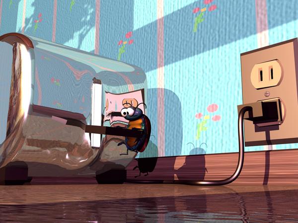 Animation Still: 'Toast!' created in 3D Studio Max '97