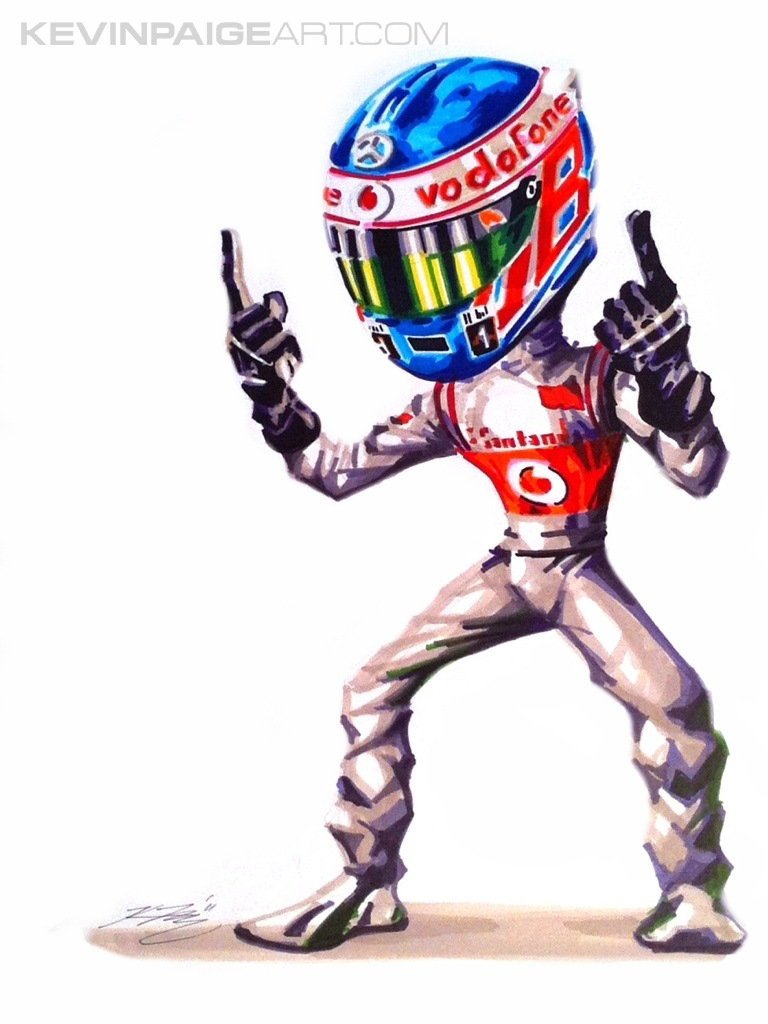 Jenson Button McLaren Cartoon