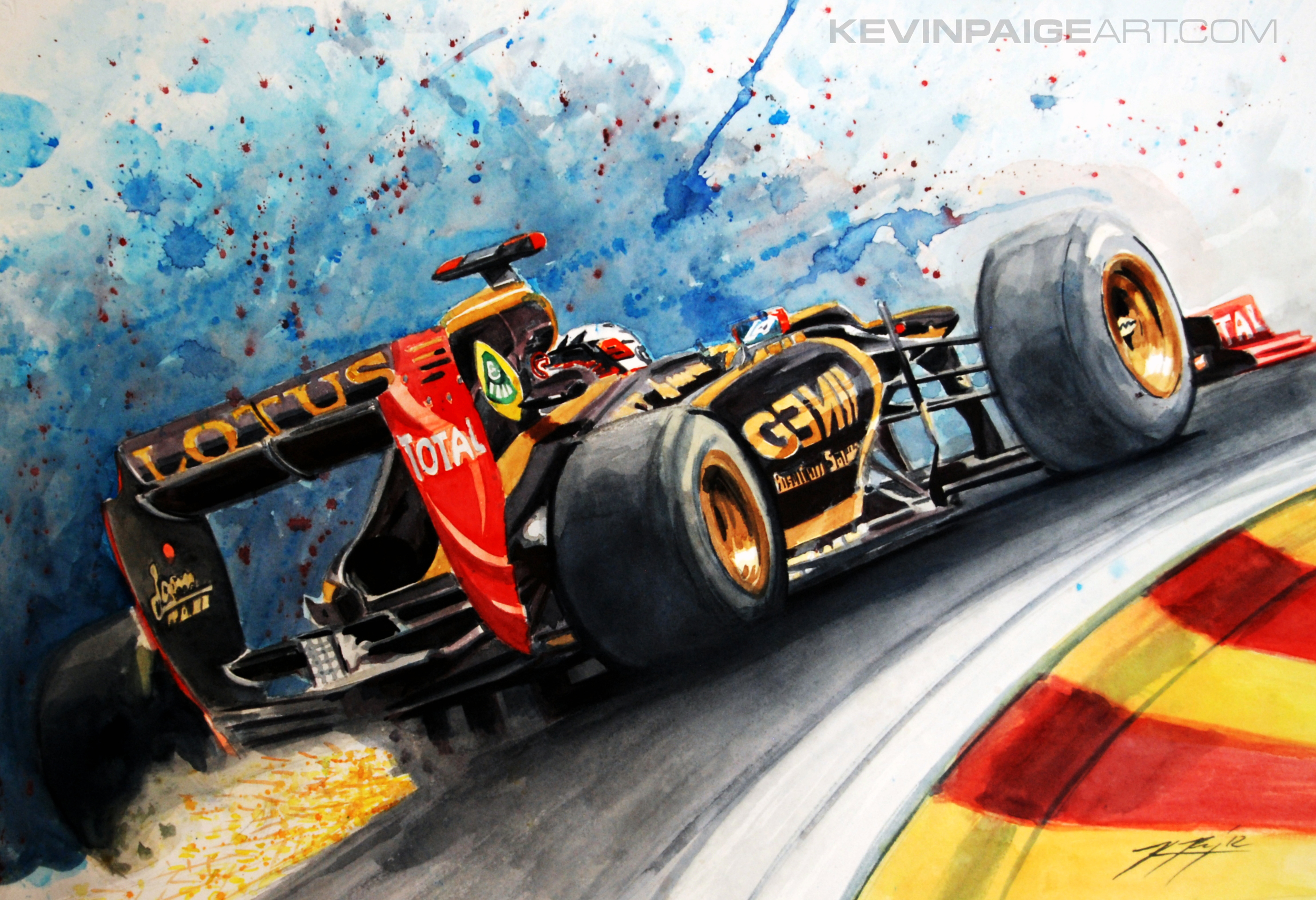 "Kimi Eau Rouge 14""x20"" 2012 Watercolor Sold"