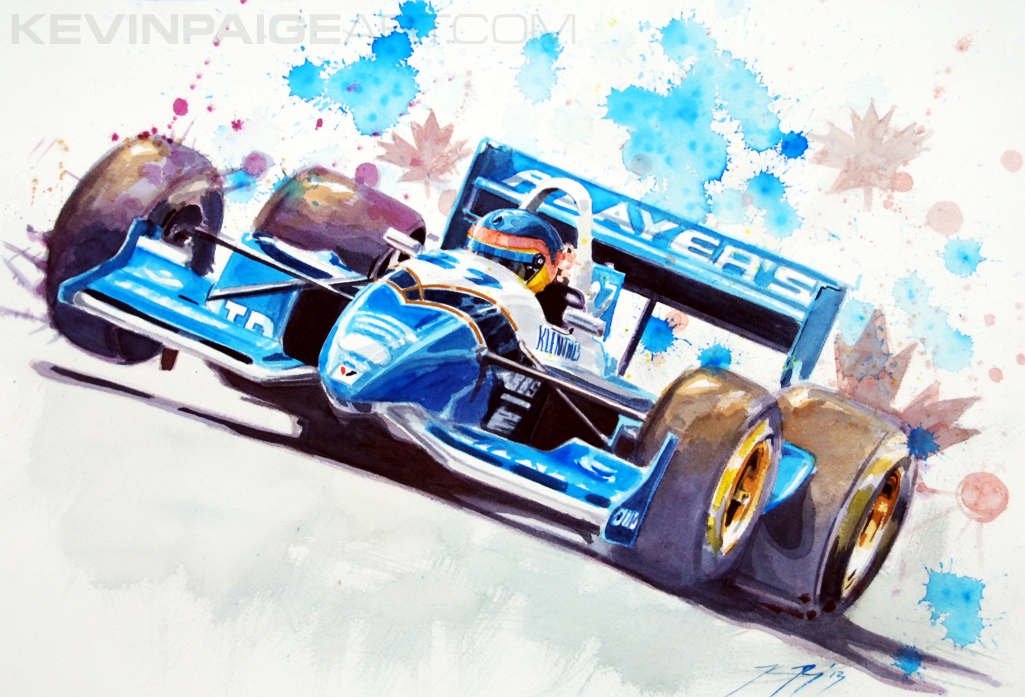 "Watercolor 14""x20"" 2013 Jacques Villeneuve Forsythe Racing"