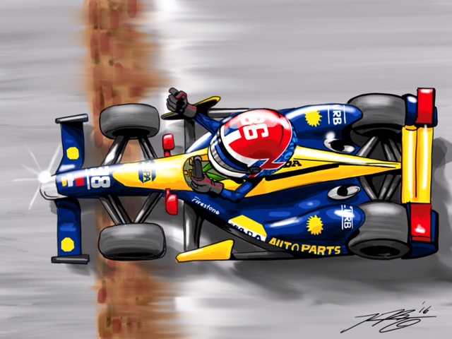 Alex Rossi Indy 500 Cartoon
