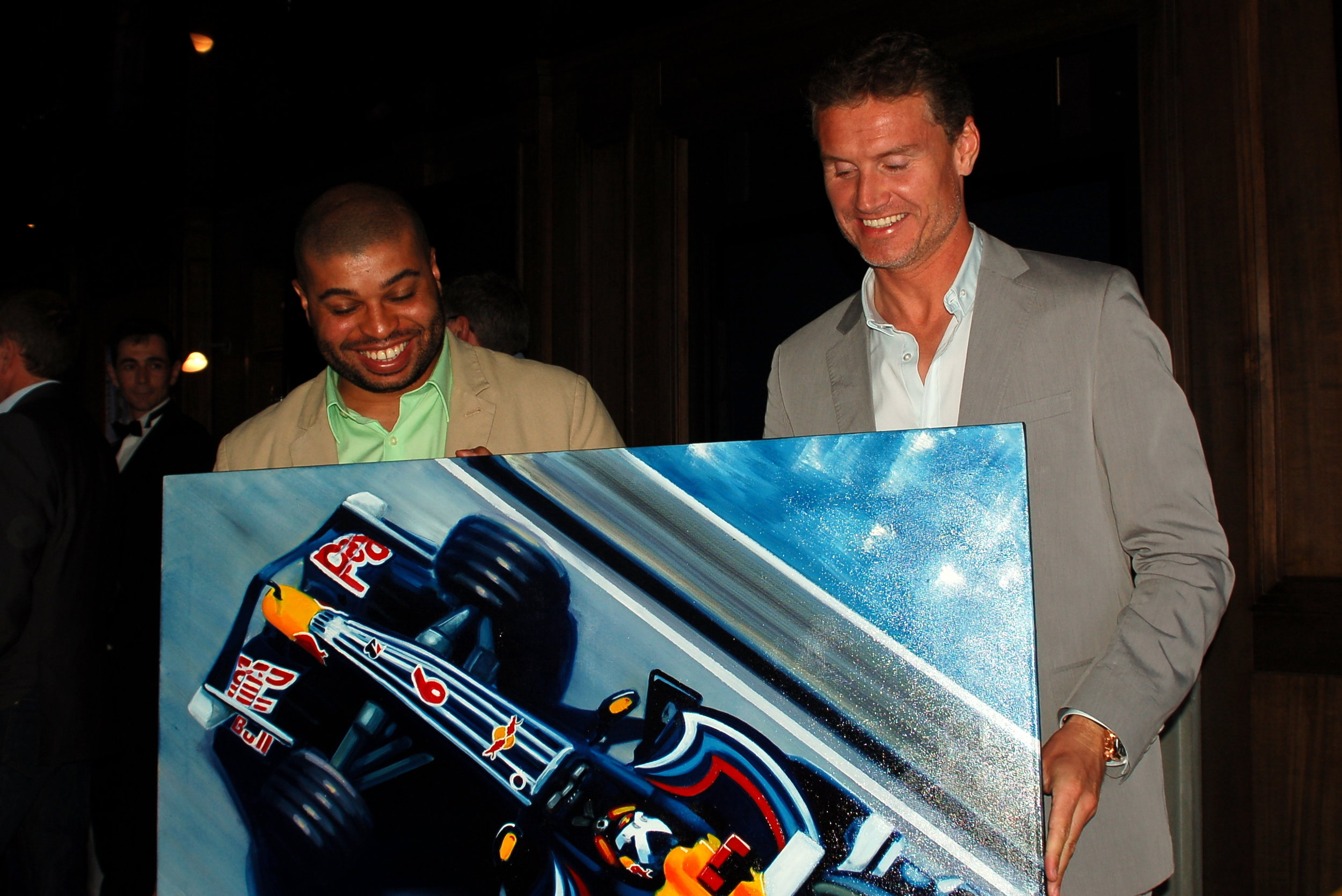 David Coulthard and Kevin with a featured oil painting